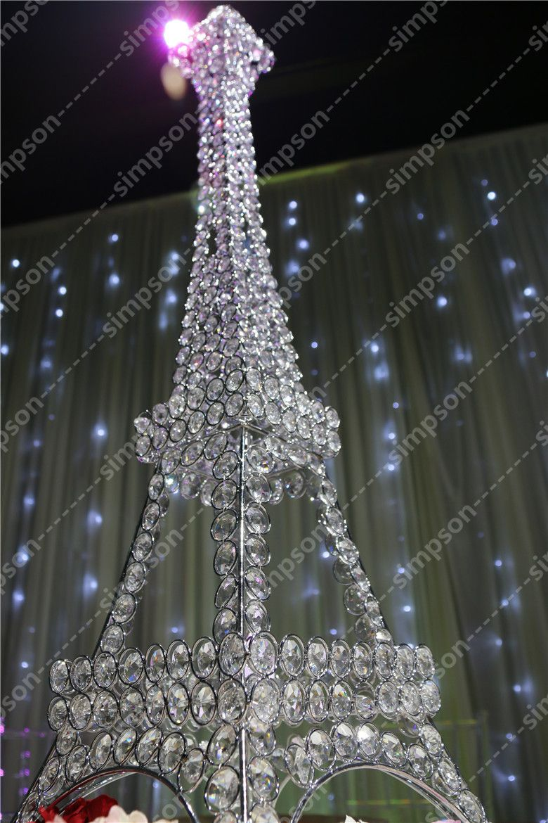 10pcs Lot Free Shipment Candelabra Centerpiece Eiffel Tower Crystal Candle Holder 23 Tall
