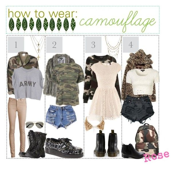 """""""how to wear: Camouflage"""" by hipstertipsters ❤ liked on Polyvore featuring Poorboy, Acne Studios, AllSaints, Banana Republic, Topshop, Underground, H&M, Dr. Martens, Jada and ASOS"""