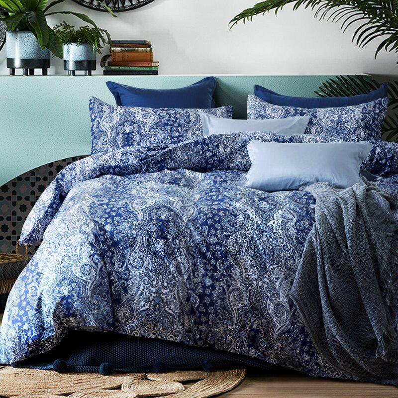 Duvet Cover Pattern Sets, Navy Blue Damask Bedding