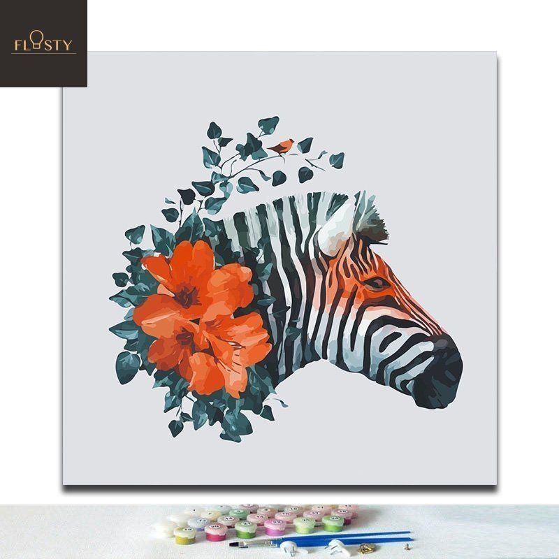 Paint By Numbers Abstract Zebra Head And Red Flower Paint By Number Easy Diy Paint Painting
