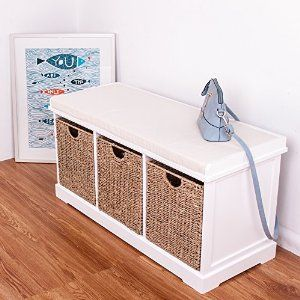 White Wooden Storage Bench Seater With 3 Sea Grass Basket Draewrs Cabinet  Chest Of Drawer: