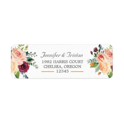 tuscan botanical floral return address label in 2018 wedding