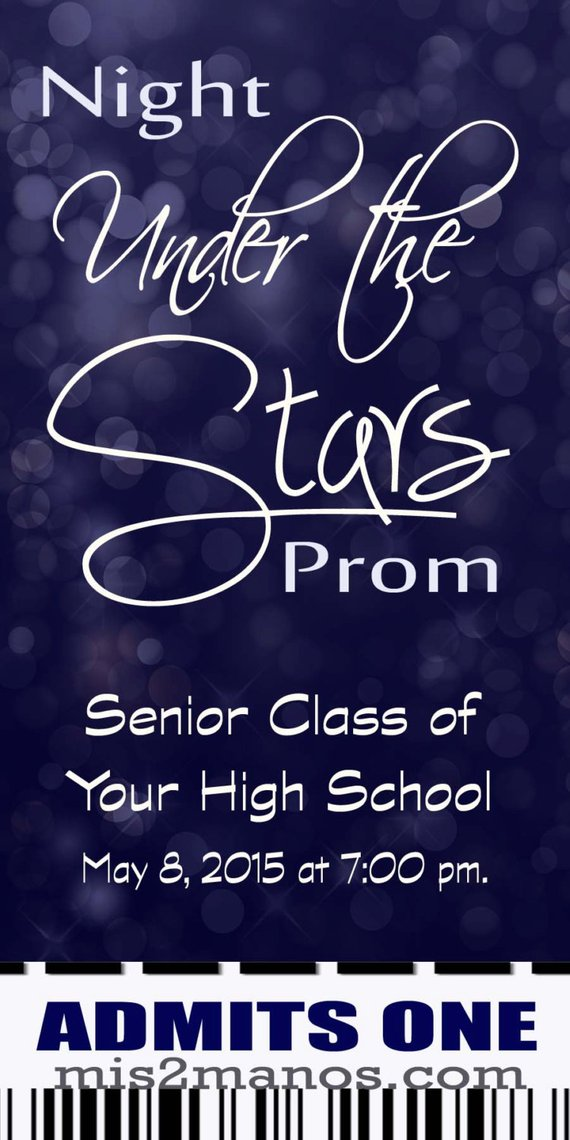 under the stars graduation ticket or prom party ticket personalized