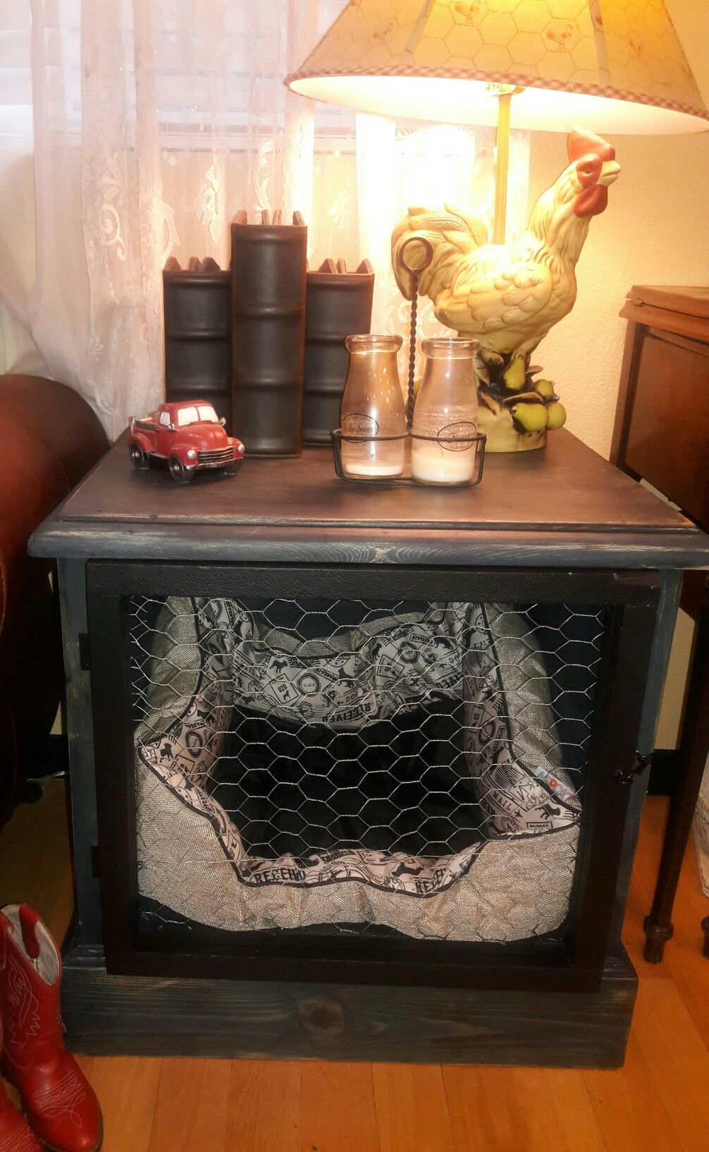 Repurposed night stand/dresser into dog crate/end table