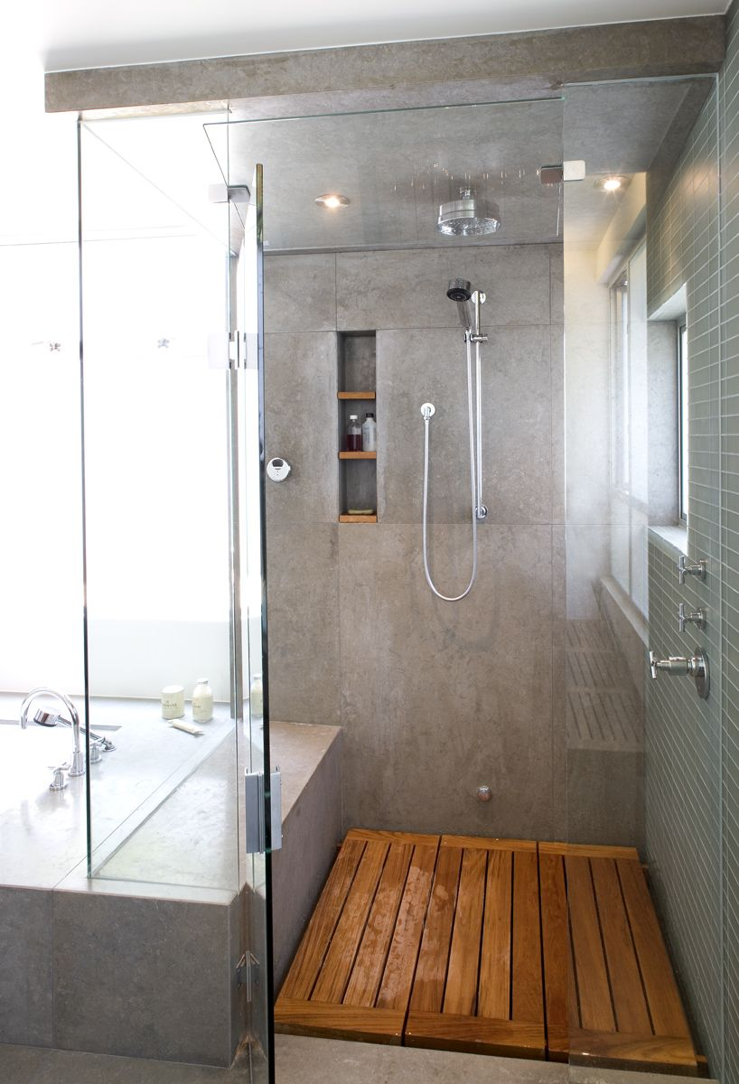 Gray Bathroom Wood Shower Floor Separate Bathtub Lots Of Light