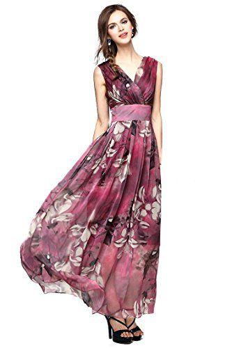 Joy EnvyLand Women V-neck Flower Prom Party Tunic Long Cocktail ...