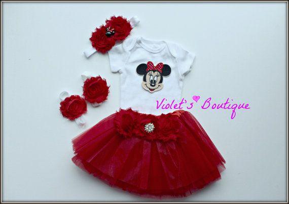 Minnie mouse tutu set...newborn take home by organicheadbands