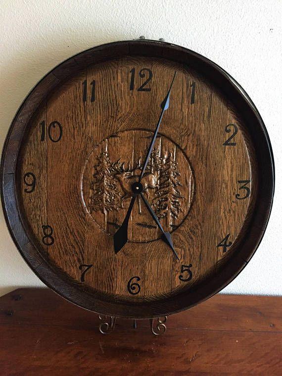 Wine Barrel Clock Elk Engraving Idei Dlya Doma Dlya Doma Idei