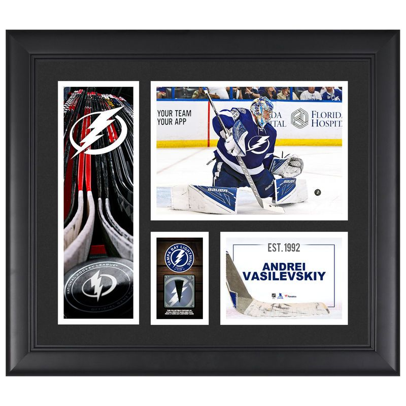 """Andrei Vasilevskiy Tampa Bay Lightning Fanatics Authentic Framed 15"""" x 17"""" Player Collage with a Piece of Game-Used Puck"""