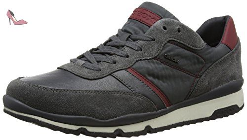 Gris Sandford Geox anthracitebordeaux Sneakers U Homme B Basses 4RqOY