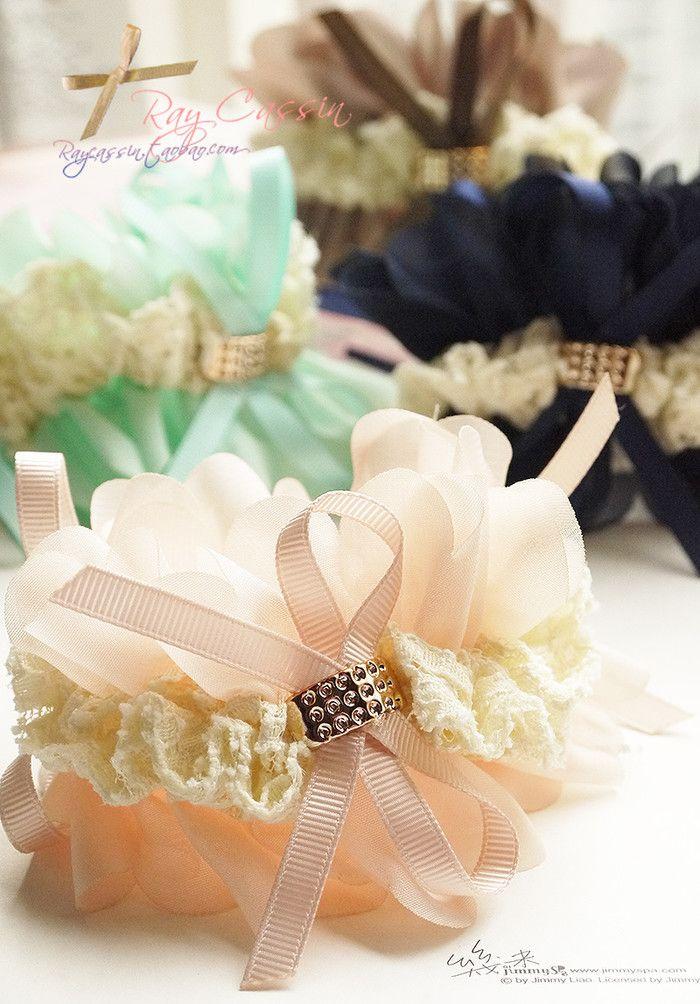 出口英国订单蕾丝金扣雪纺花瓣缎带大发圈头花发饰
