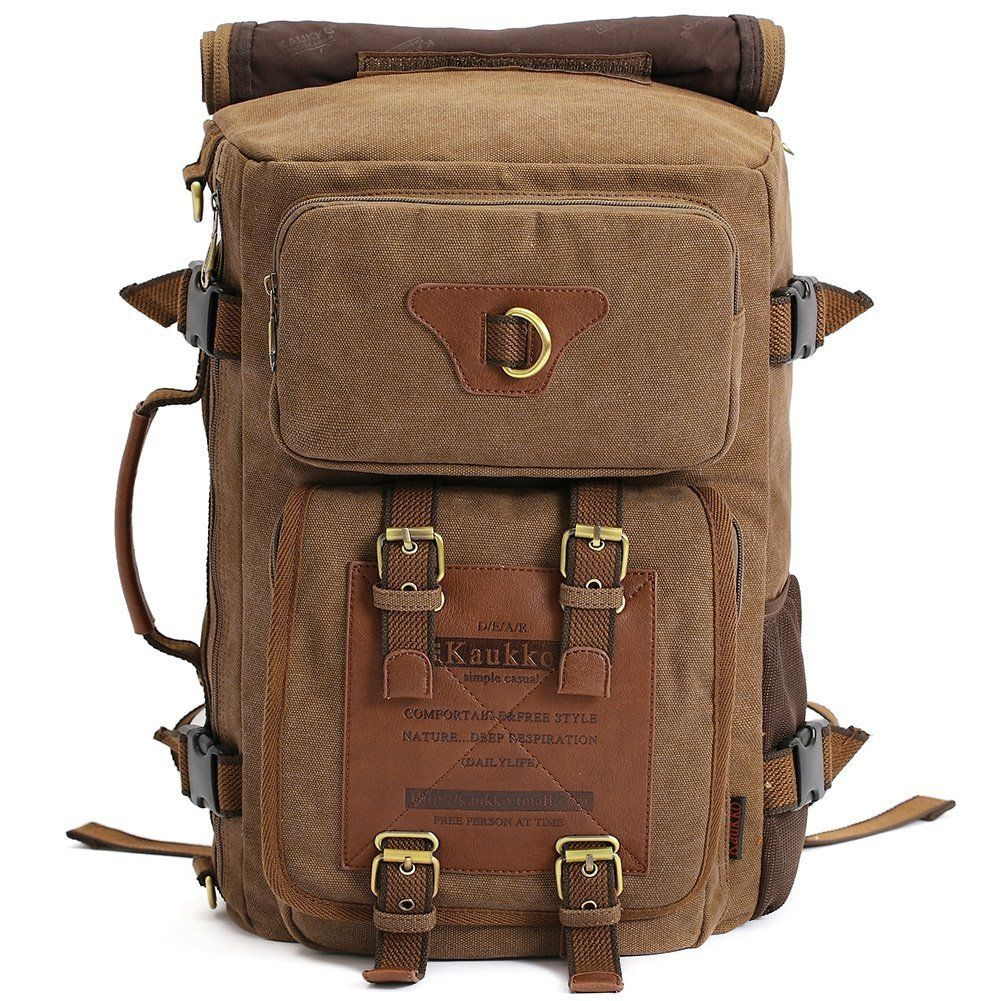 efd40002cf Kaukko Outdoor Large Travel Men s Backpack Fit up 13-14  laptop Restro Canvas  bags    Additional details at the pin item shown here