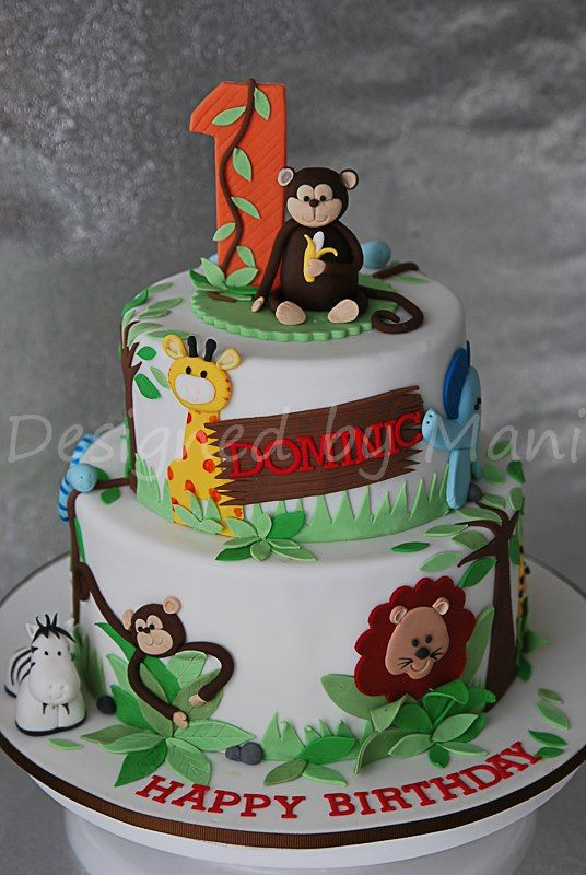 Incredible Jungle Themed 1St Birthday Cake Com Imagens Decoracoes De Funny Birthday Cards Online Chimdamsfinfo