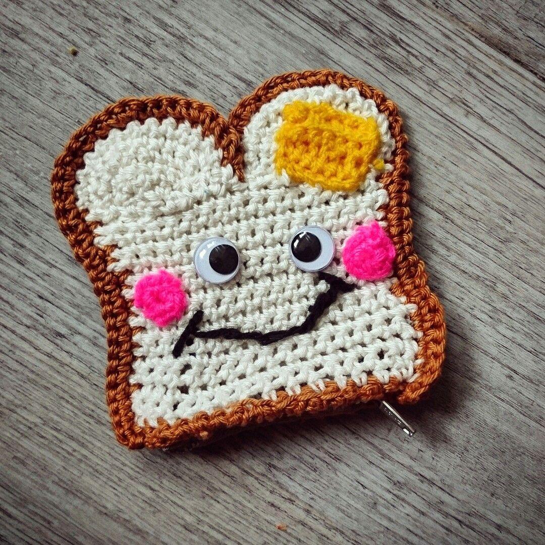 Crochet Toast purse / Toastbrot Tasche, Portemonnaie, gehäkelt ...
