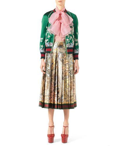 -6DXT Gucci Duchess Silk Bomber Jacket, Green Garden Silk Organza Double-Bow Sleeveless Top, Pink Coral
