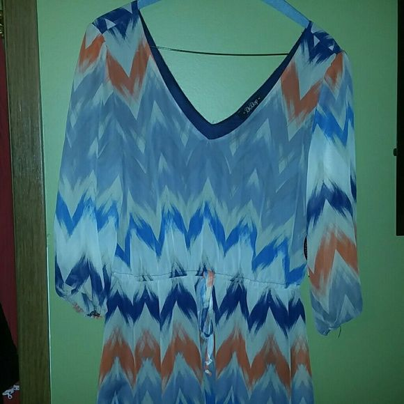 Grey coral and blue dress Nwt BeBop Dresses