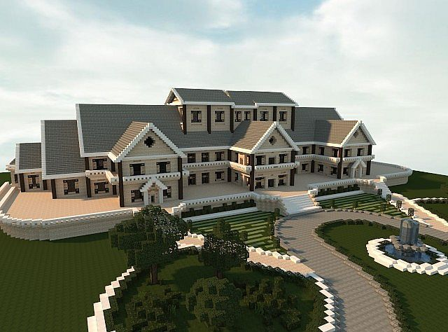 Luxury mansion minecraft building ideas house design for Normal home front design