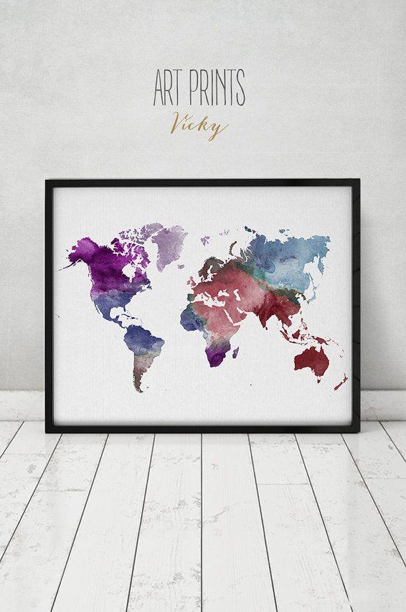 Large world map poster colorful world map print world map affiche de carte grand monde imprimer carte par artprintsvicky gumiabroncs Choice Image