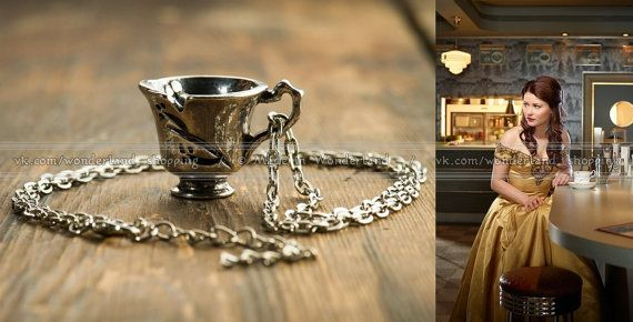 RUMBELLE Chipped Cup pendant // Once upon a time // Rumpelstiltskin and Belle //