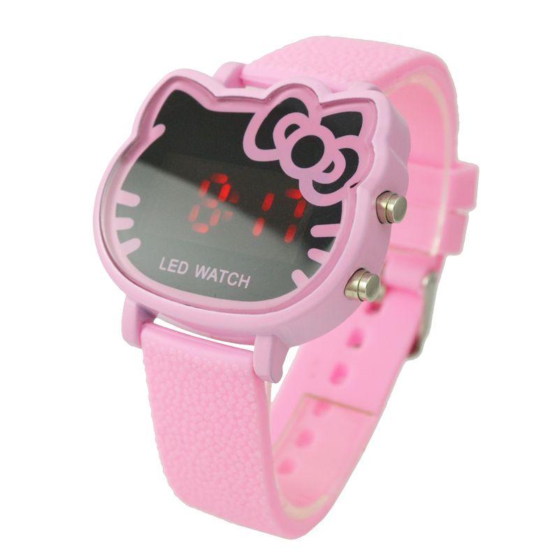 3f1d93c86767 Cheap Montre Enfant lindo Hello kitty rosa Led Digital reloj para niños  niños chicas moda de señora correa de caucho reloj de pulsera Relogio  Esportivo
