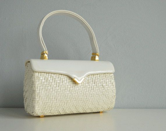 Vintage 60s Wicker Handbag 1960s Mod Koret White Woven Straw Patent Leather Structured Box Purse