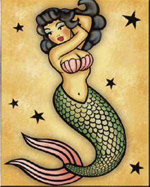 Mermaid pin-up by mistyreese at DEVIANTART...sailor jerry tattoo mermaid