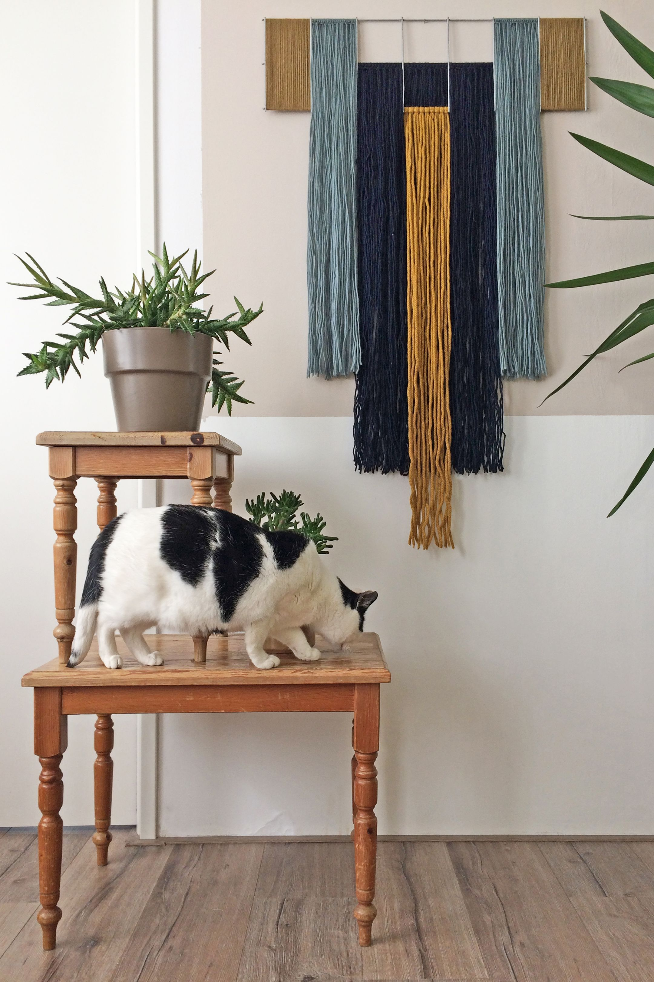 Macrame Wall Hanging With Metal Grid Geometric Tapestry Contemporary Fiber Art Wool Yarn Blue Ochre Mustard Colorful Wall Art In 2020 Yarn Wall Art Yarn Wall Hanging Wool Wall Hanging