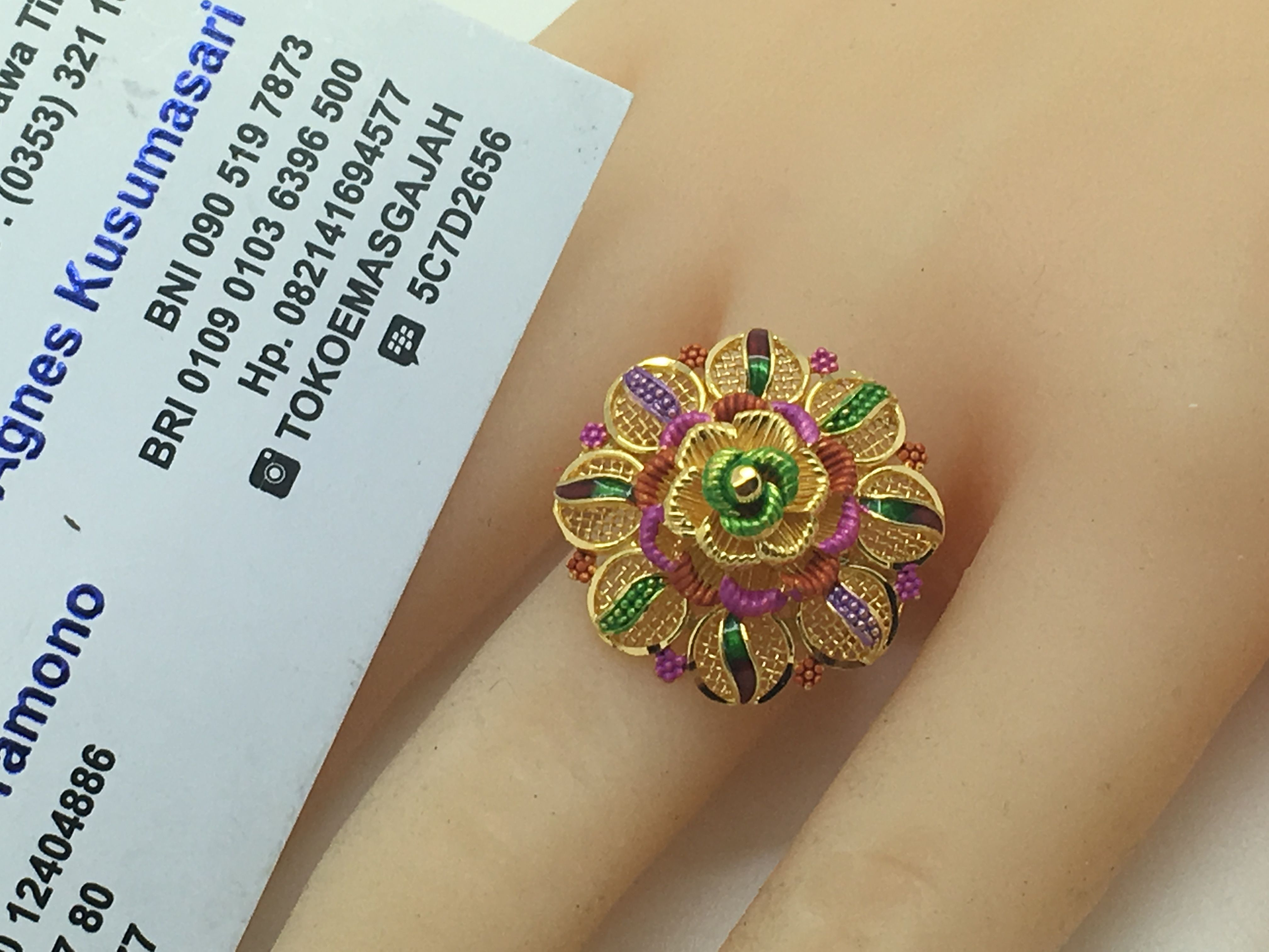 K gold dubai india flower ring size adjustable