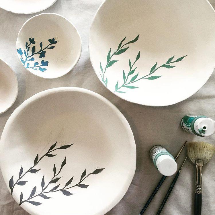 "Nicola Hart on Instagram: ""Hand painting bowls in the studio today � #nicolahartstudios #ceramics #pottery #handmade #ceramicstudio #ceramicbowl #porcelain…"""