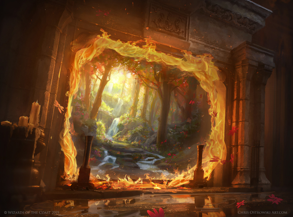 Mtg Throne Of Eldraine Escape To The Wilds Chris Ostrowski Fantasy Concept Art Fantasy Landscape Portal Art