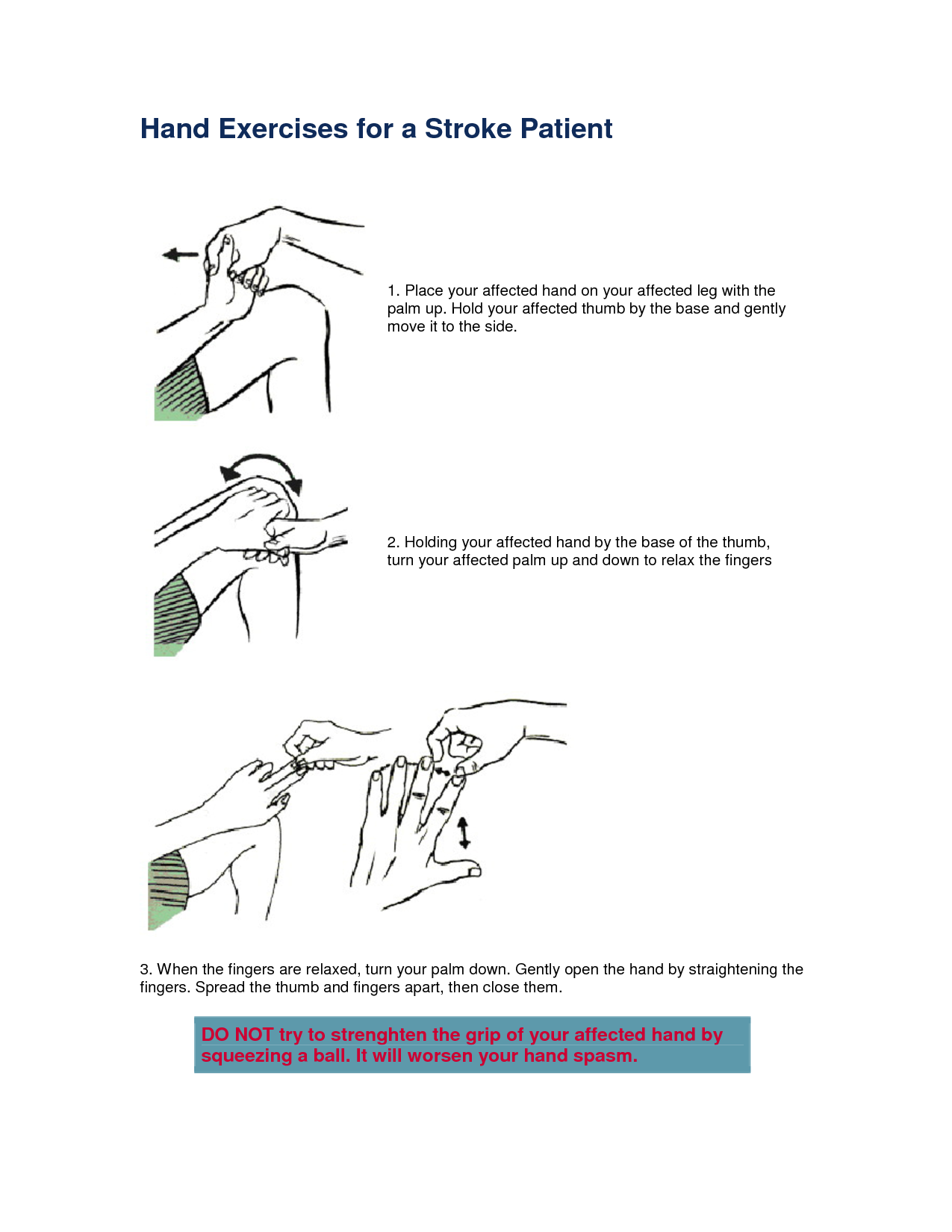 pictures of exercises for stroke patients   Hand Exercises