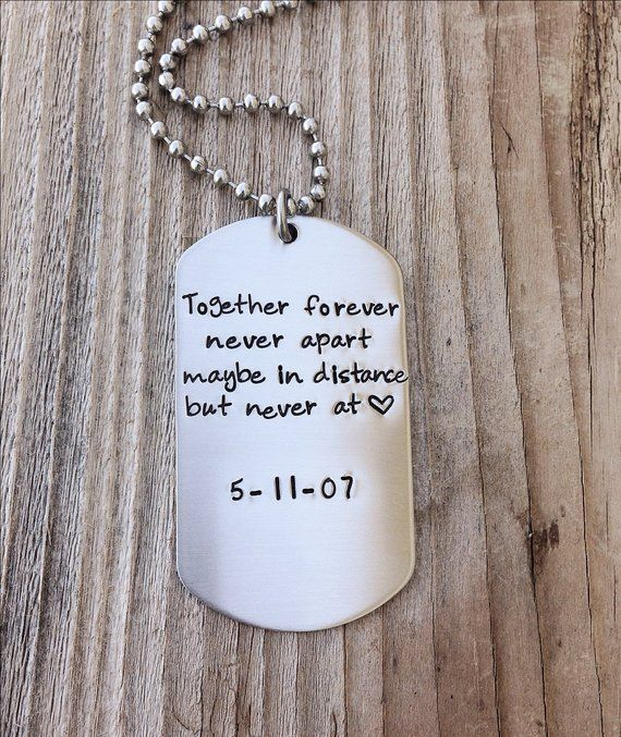 Long Distance Relationship Custom Dog Tag Hand Stamped Gift For Him Military Couple Anniversary