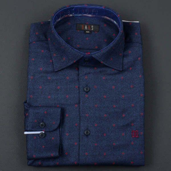 닥스 긴소매 셔츠 (DKCW1CSL203-N1) 네이비 바탕 레드 포인트 우라기리 셔츠 - 더현대닷컴