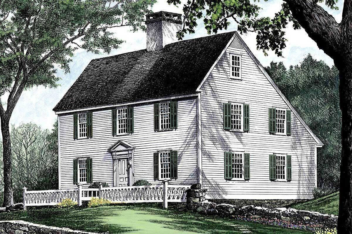 Plan 32439wp Saltbox Style Historical House Plan In 2020 Historical House Plans Colonial House Plans Saltbox Houses