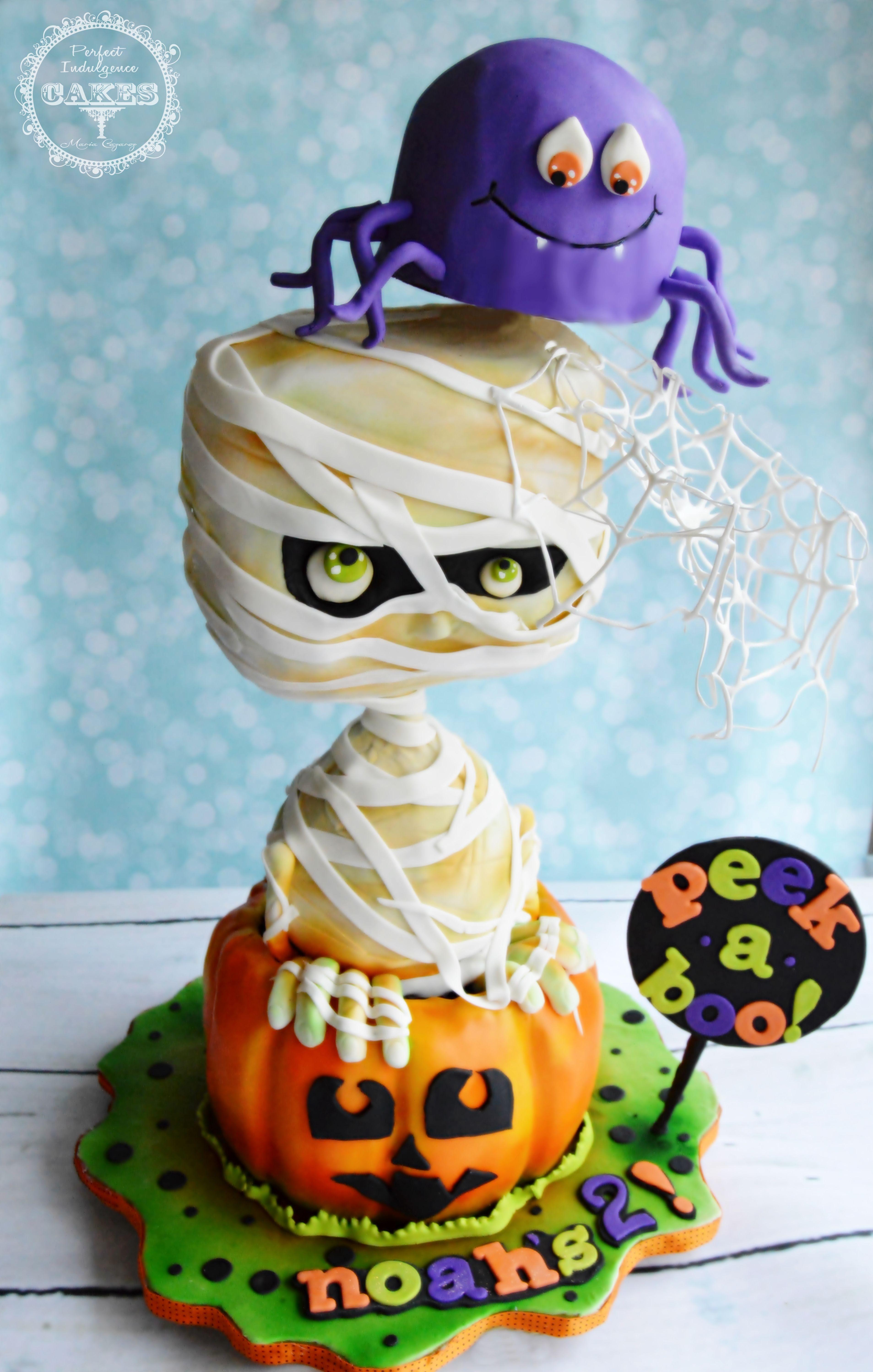 Cute! 3D sculpted, gravity defying Halloween Cake, Pumpkin
