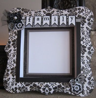 "Scrapi Traci ""Family"" Bracket Frame using For Always paper with new For Always Textile flower. (For March 2013 Sip 'N Scrap)."