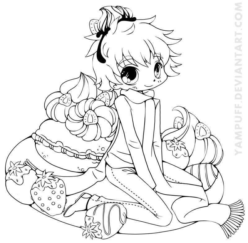 Strawberry Boy Chibi Commission Lineart By Yampuff On Deviantart Chibi Coloring Pages Cute Coloring Pages Animal Coloring Pages