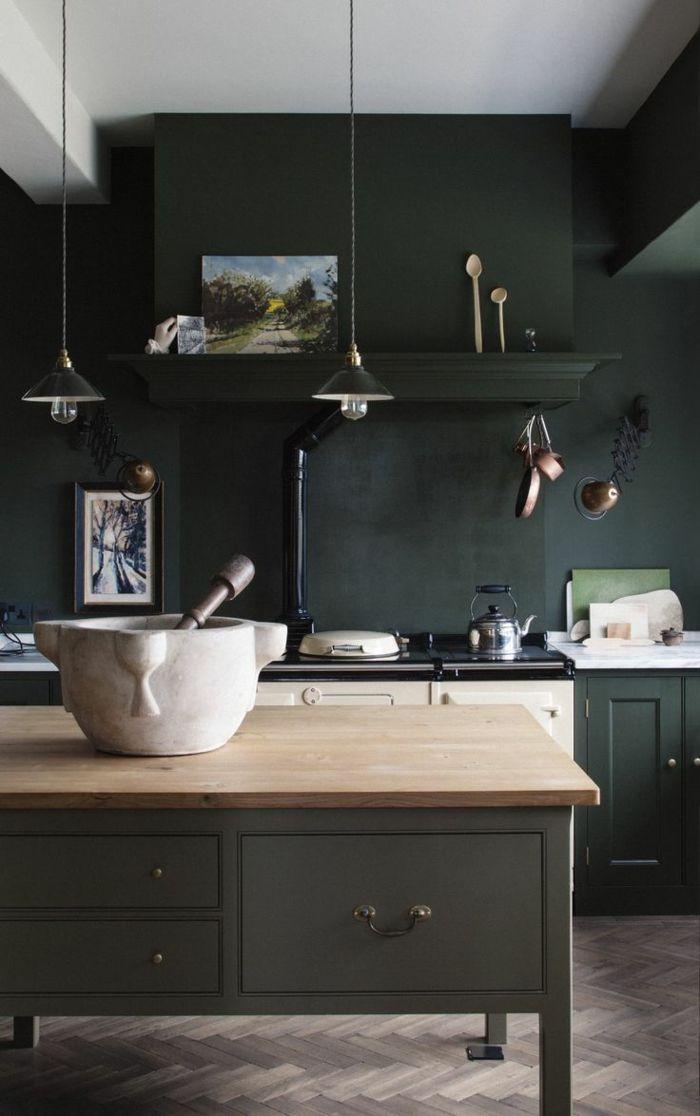 moderne küchen schwarze wandfarbe und dunkle küchenschrönke für - küchen farben trend
