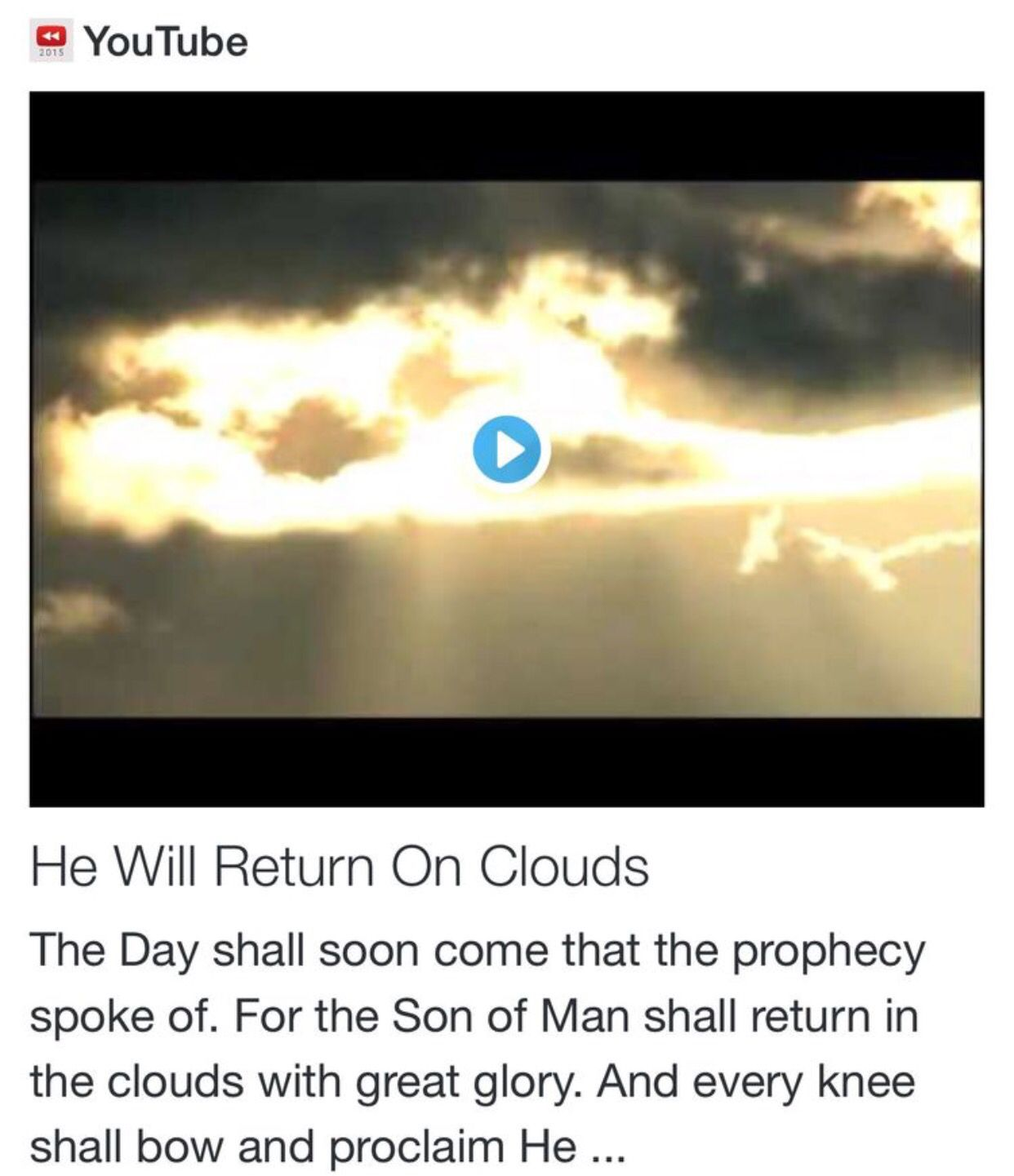 He Will Return On Clouds from Signs, Science and Symbols of the Prophecy https://t.co/1veQL1tinR