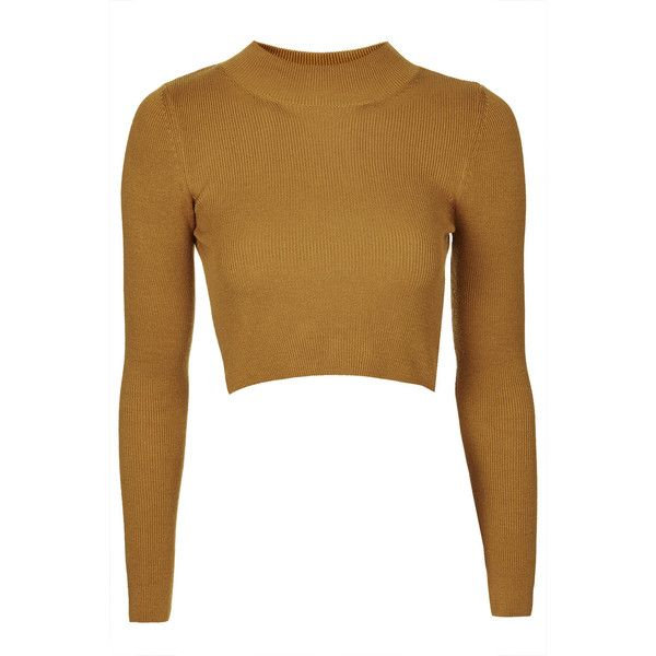 53bcebba0706f TOPSHOP Funnel Neck Ribbed Crop Sweater ( 19) ❤ liked on Polyvore featuring  tops