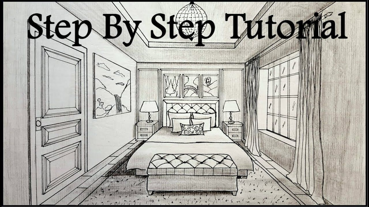 How To Draw A Bedroom In One Point Perspective Step By Step