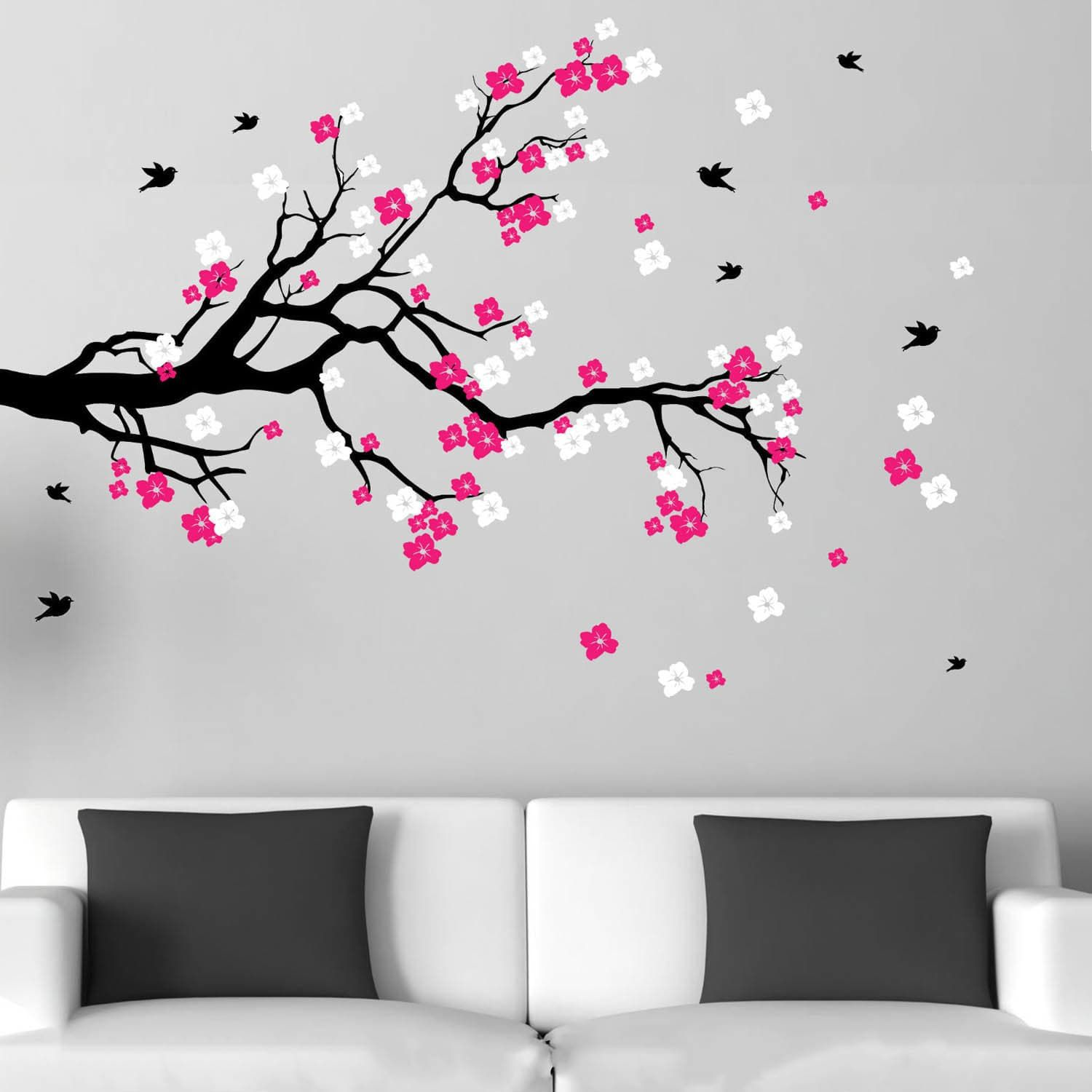 Cherry Red Blossom Branch With Birds Vinyl Wall Art Decal Black