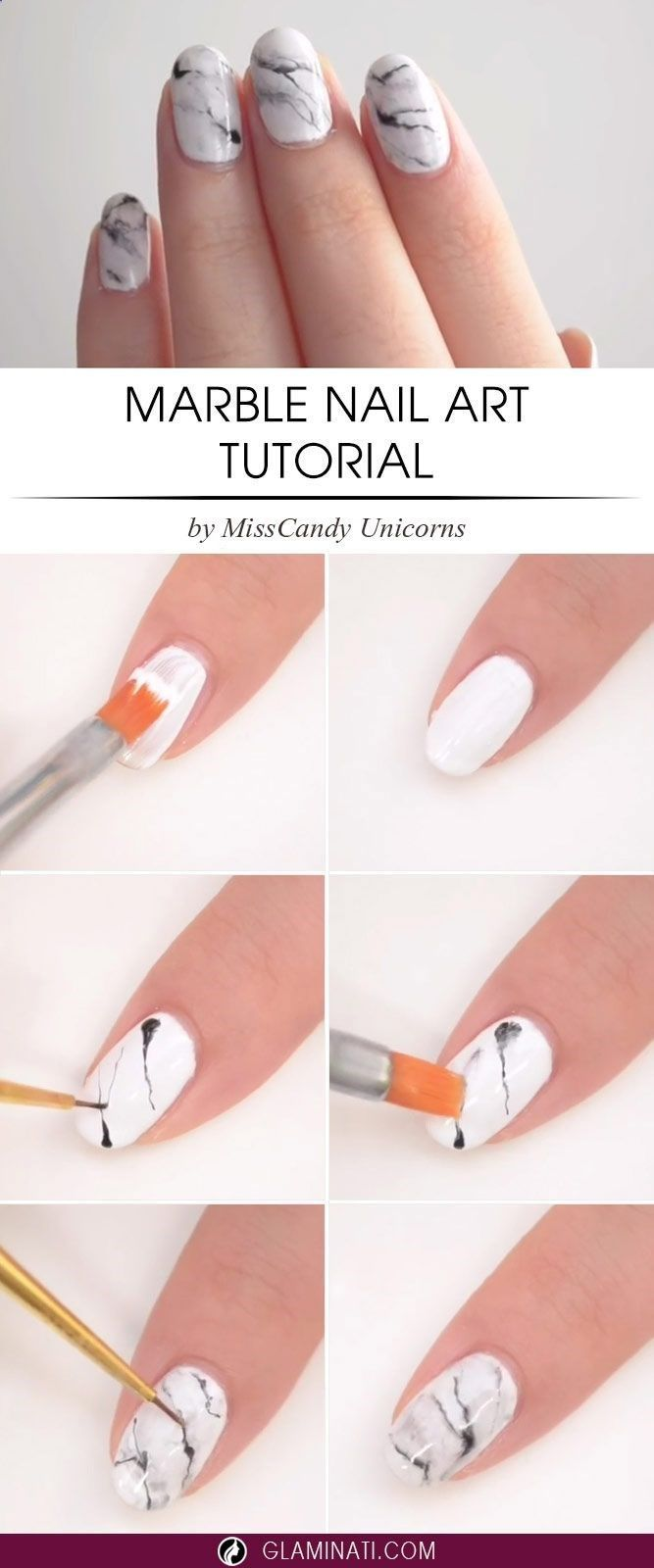 DIY Marble nail art design tutorial step by step marble nails