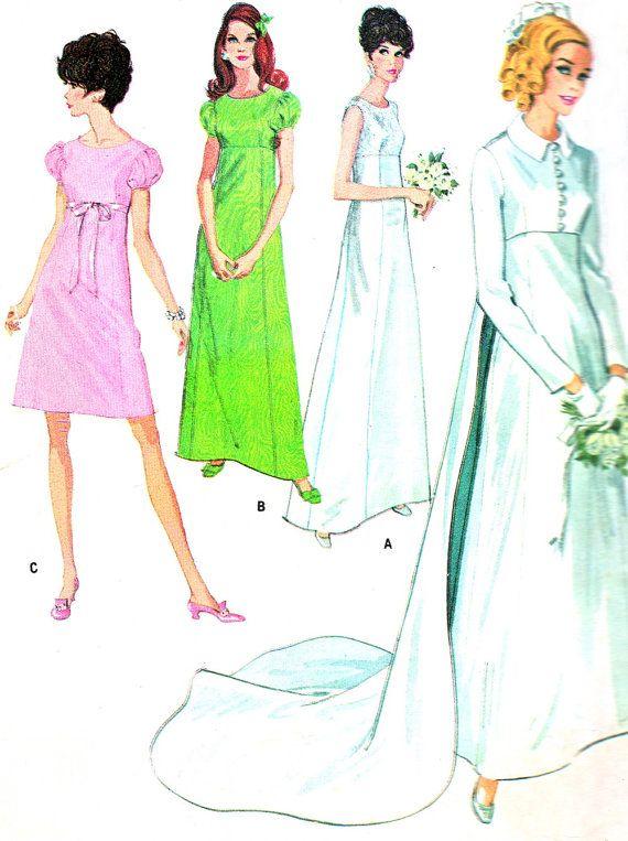 1960s Wedding Dress Pattern McCalls 9227 Empire Waist Wedding Gown Jacket Bridesmaid Dress Womens Vintage Sewing Pattern Bust 36