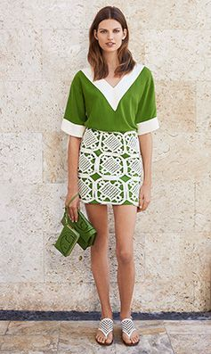 Tory Burch SUMMER 2014 - LOVE this shade of green!!!!!!! And the wristlet...
