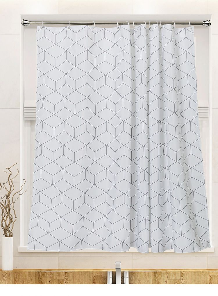 Black And White Shower Curtain Geometric Square Cubes Simplistic