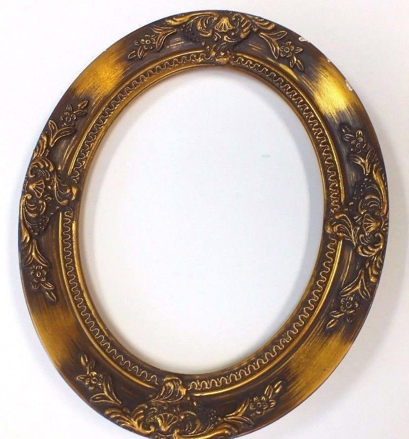 8 X 10 Oval Ornate Victorian Picture Frame Antique Gold Leaf Wood