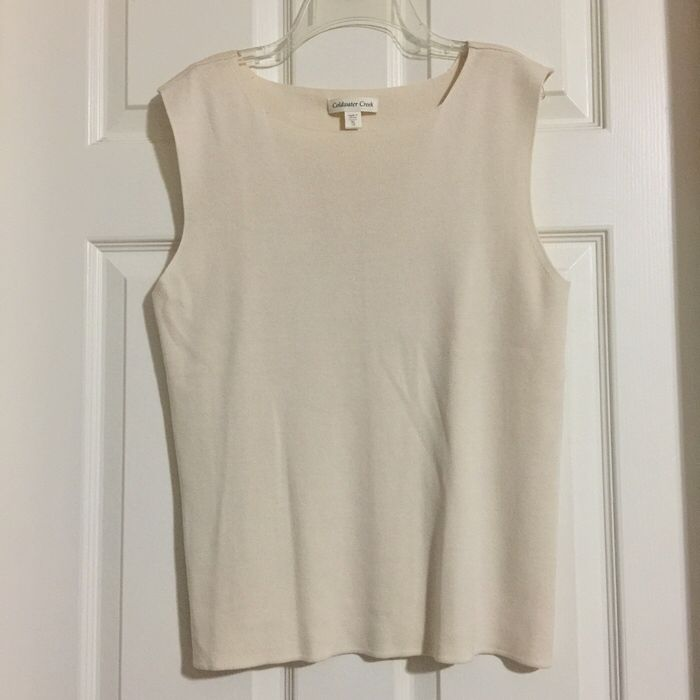 My XLarge Coldwater Creek Silk Cream Tank Top for $15.00. Check it out: http://www.vinted.com/womens-clothing/sleeveless-and-tank-tops/21438270-xlarge-coldwater-creek-silk-cream-tank-top.