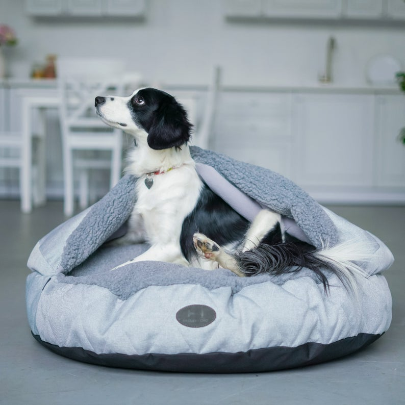 Snuggle Top Pet Bed For Dog Gray Faux Fur Etsy Covered Dog Bed Dog Pet Beds Dog Bed