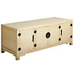 Consider using this Mei Media Stand (in ivory) as a low buffet / wine storage in the dining room   $499.95 at Pier One
